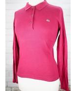LACOSTE Long Sleeve Polo Shirt Womens Euro 40 US 10 100% Cotton Rib-knit... - $38.61