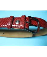 RABENA Red Snakeskin Leather Vintage BELT - made in Spain - size 85/34 (... - $45.00