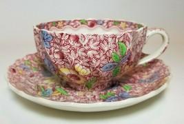 Antique Copeland Spode King Pink Chintz Tea Cup/Saucer RARE England Flor... - $59.35
