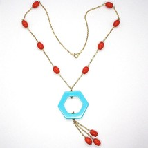 Necklace Silver 925 Yellow, Red Coral Oval, Hexagon Turquoise Pendant image 2