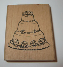 "Wedding Cake Rubber Stamp Roses Wood Mounted Flowers 3"" High Dessert - $3.75"