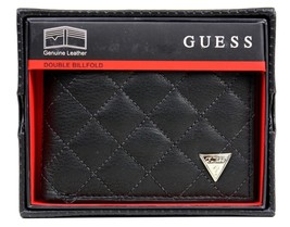 New Guess Men's Leather Wallet Double Billfold Credit Card Id Black 31Gu130001