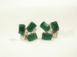 BOGOFF Emerald GREEN Rhinestone Screwback Earrings Silver Plate Vintage ... - $29.69