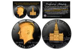 1976 BLACK RUTHENIUM Bicentennial JFK Half Dollar  w/ 24K GOLD features ... - $18.65