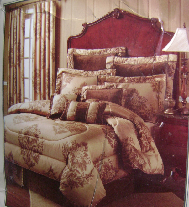 "NOBLE EXCELLENCE ""INDULGENCE"" QUEEN COMFORTER 9 PC SET 100% DOUPPIONI SILK NEW"