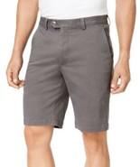 Tasso Elba Mens Flat Front Soft Stretch Shorts 34 Kettle Gray - $19.00