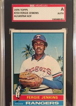 1976 Topps #250 Autographed Fergie Jenkins Texas Rangers card SGC Certified - $24.18
