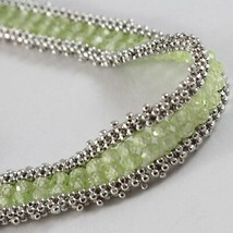 925 Silver Bracelet, Tennis Balls Multi Wires, Peridot Green, Made in Italy image 2