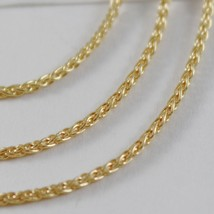 SOLID 18K YELLOW GOLD SPIGA WHEAT EAR CHAIN 16 INCHES, 1.5 MM, MADE IN ITALY  image 2