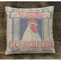 "12"" ""Scratch Feed"" Toss Pillow or Tabletop Pillow FARMHOUSE Decor - £26.77 GBP"