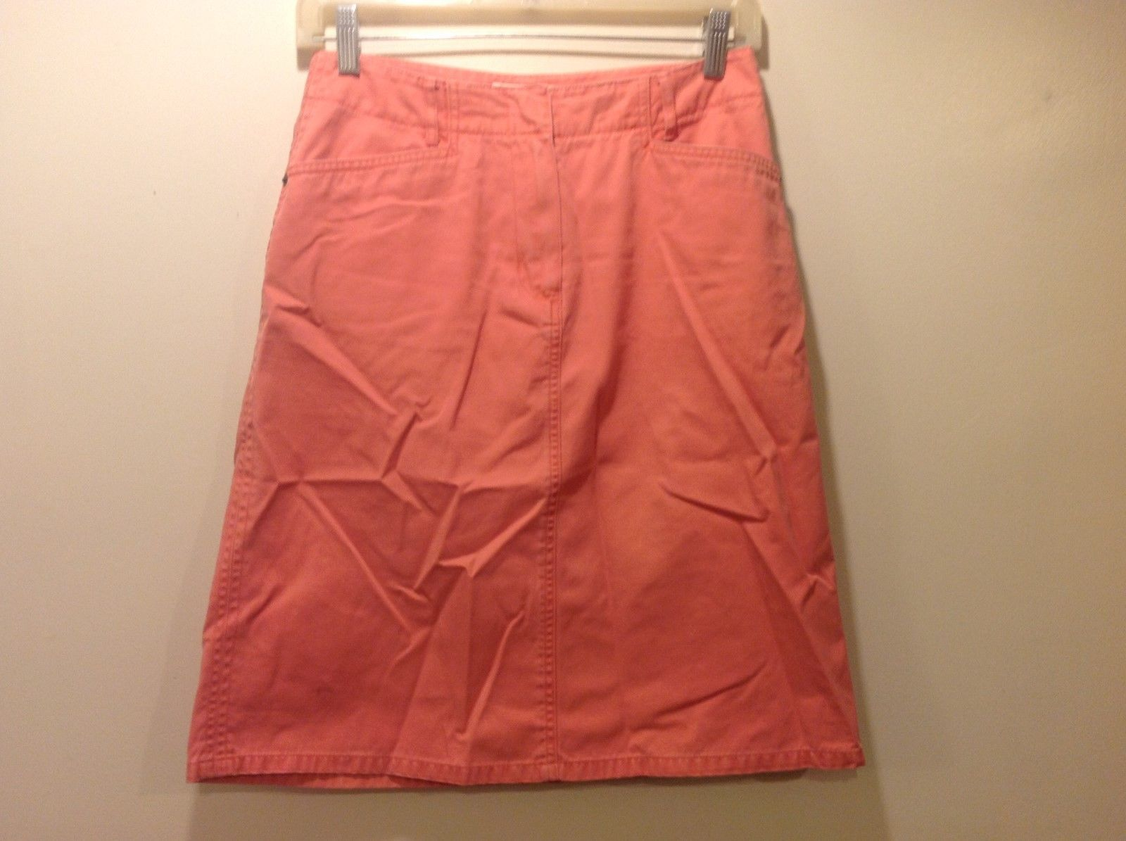 Talbots Petite Light Orange/Salmon Med Weight Denim Skirt Sz 4