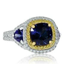 GIA Certified 4 Carat Cushion Tanzanite Diamond Engagement Ring 14k Whit... - $2,898.49