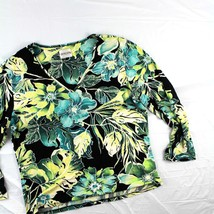 AS IS Chicos Sz 1/2? floral print blouse 3/4 sleeve black green yellow  - $25.00