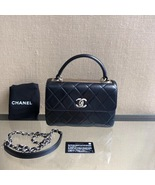 AUTH NEW CHANEL BLACK QUILTED LAMBSKIN TRENDY CC 2 WAY HANDLE FLAP BAG  - $4,999.99