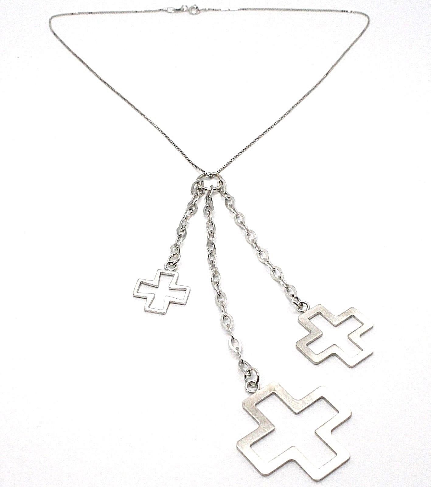 Silver necklace 925 Chain Veneta, Three Crosses Pendants, shiny and Satin