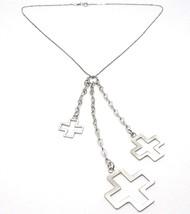 Silver necklace 925 Chain Veneta, Three Crosses Pendants, shiny and Satin image 1
