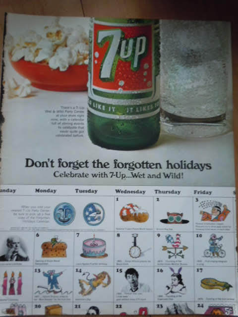 Primary image for 7-UP Don't Forget The Forgotten Holidays Print Magazine Advertisement  1967