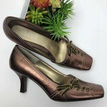 Franco Sarto Balzar Brown Metallic Leather Pumps Shoes Size 8M NIB - $30.00