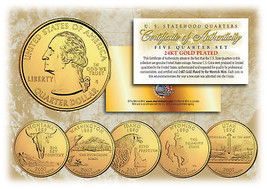 2007 US Statehood Quarters 24K GOLD PLATED ** 5-Coin Complete Set ** w/C... - $9.46