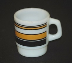 Old Vintage Black & Gold Stripes Milk White Coffee Cup Mug Anchor Hockin... - $14.84