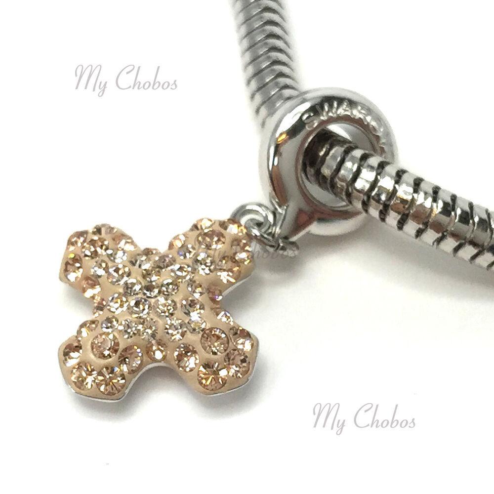 Swarovski European Hang Bracelet Charm Stainless Steel BeCharmed Pave Crystal image 14