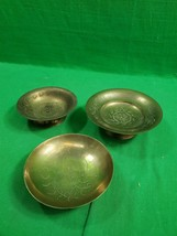 Vintage Brass Set of Three Engraved ~ Etched Bowl Dish ~ Each Different - $16.78