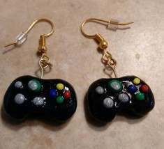 Miniature Game Controller Charm Earrings Clay  Kids Gold Tone Wires Games  - $6.00