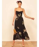 NWT The Reformation Emersyn Dress Black Floral Dress Size 8  - $164.31