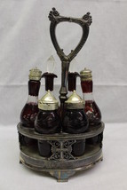 PairPoint Quadruple Silver Plate & Ruby Glass Cruet Castor Condiment Set... - $129.99