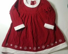 Hanna Andersson Girl's Corduroy Christmas Dress Size 90 Red White Snowflake - $17.45
