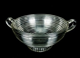 Large Clear Glass Serving Bowl w/Ear Handles, Footed, Anchor Hocking Manhattan - $19.55