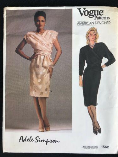 Vintage 1980s Vogue Paris Original Adele Simpson Pattern Faux Wrap Dress Uncut