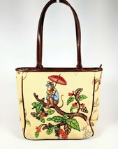Vintage Isabella Fiore Beaded Tote Bucket Bag LEOPARD and MONKEY - $86.11