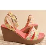 Crocs Leigh Womens Sz 7 Colorful Ankle Strap Platform Wedge Sandals Shoe... - $34.65