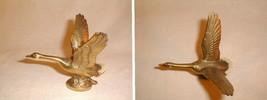 Brass goose figurine flying outstretched neck detailed desk shelf vintag... - $35.00