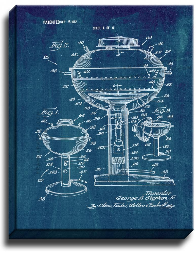 Primary image for Gas Fired Barbecue Kettle Patent Print Midnight Blue on Canvas