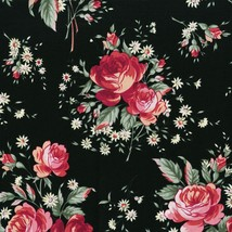 Rosette~Pink Floral Bouquets on Black Cotton Fabric by RJR Fabrics - $13.30