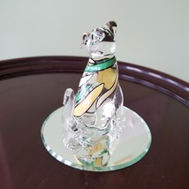 Glass Cat Figurine on mirrored base, painted with yellow green stripes, Kitty image 4