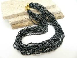 Retro Dark Silver Gray Glass Bead Layered Torsade Choker Necklace YY22 - $16.99
