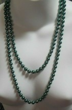 "Vintage Signed LR Lady Remington Knotted Green Glass Pearl Necklace  48""... - $34.65"
