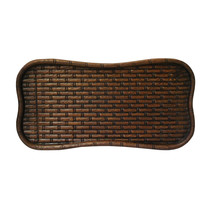 Chinese Rectangular Geometric Relief Carving Motif Wood Tray ws290 - $195.00
