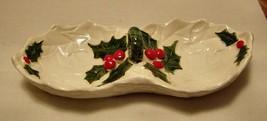 Vintage -Lefton #6058 -Holly porcelain candy dish - $12.86