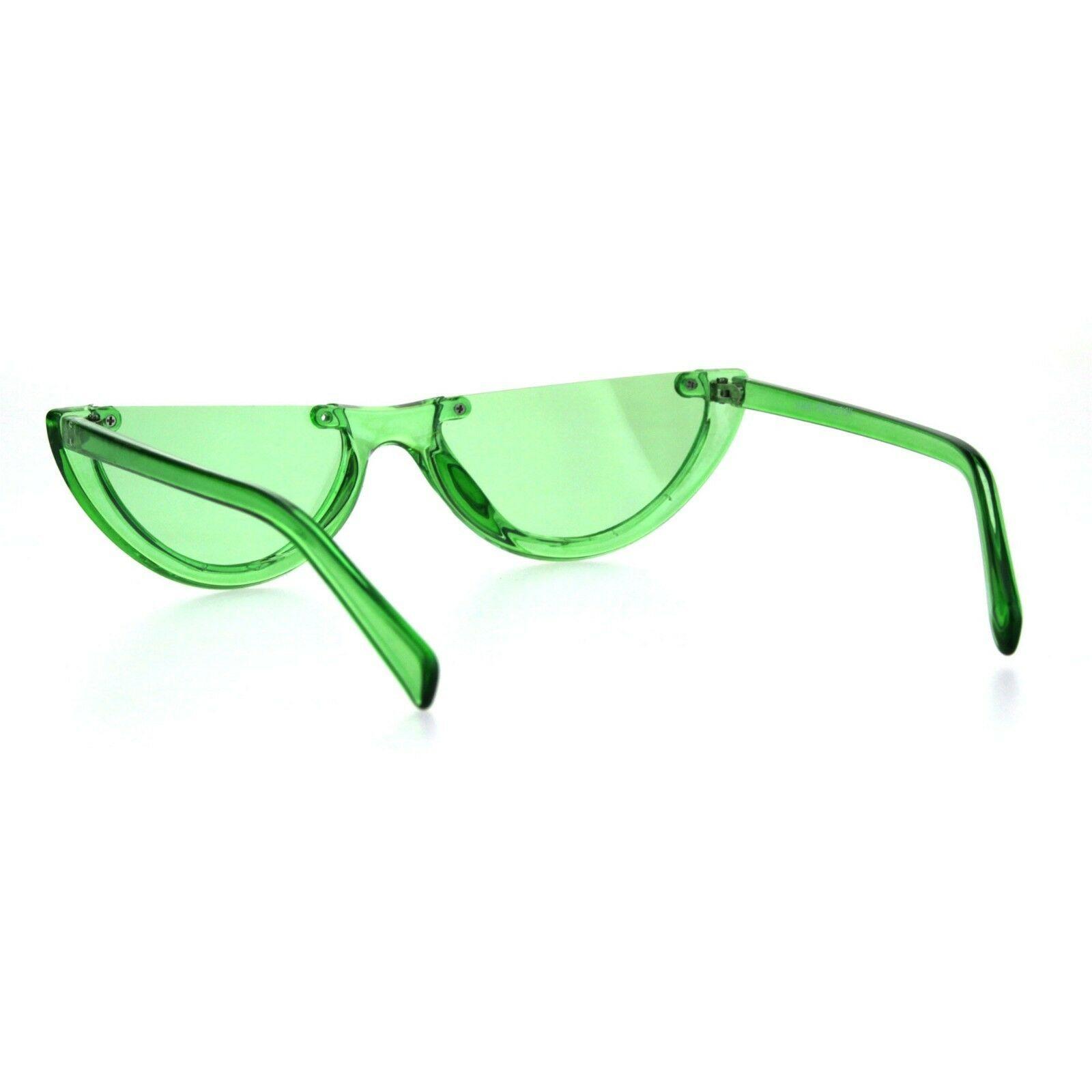 Womens Cropped Flat Top Retro Cat Eye Fashion Sunglasses