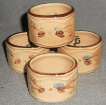 Rare! 1980s Set (4) Franciscan Bouquet Pattern Embossed Napkin Rings California - $49.49