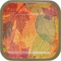 "Burnished Leaves Fall 8 Ct 7"" Square Dessert Cake Plates Thanksgiving - $4.69"