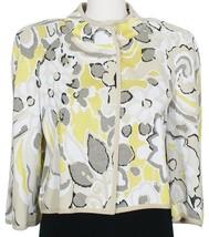 ST. JOHN Ouzo White Black Abstract Floral Wool Blend Knit Jacket 6 Yello... - $399.99