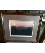 Sunset Over Mountains & Forest Photograph Print Framed & Matted - $59.40