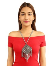 Afghani Long Multi Layer Long Chain Large Pendant Chain Tassel Necklace ... - $38.54