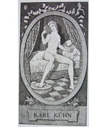 NUDE EX LIBRIS Young Woman Bed Awoken Morning Toilette - 1922 Lichtdruck... - $8.99
