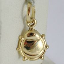 18K YELLOW GOLD ROUNDED LADYBUG PENDANT CHARM 18MM SMOOTH LADYBIRD MADE IN ITALY image 3